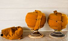 Free Monk S Alms Bowl With  Crochet Overlay And Kitbag Royalty Free Stock Photography - 20993187