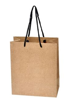 Free Shopping Bag Made From Brown Recycled Paper Stock Image - 20995151