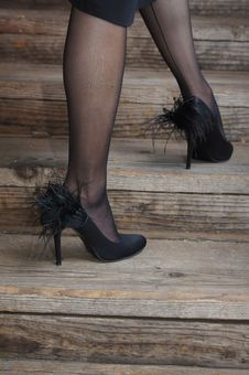 Legs With Black Stockings And Feather Shoes Royalty Free Stock Images