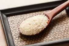 Free Raw Rice In Spoon Stock Photography - 20996532