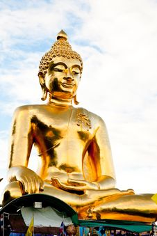A Big Golden Buddha Stock Photo