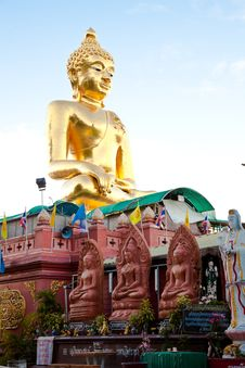 A Big Golden Buddha Image At Golden Triangle