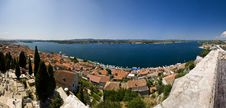 Panoramic View Of Sibenik And The Canal Stock Photography