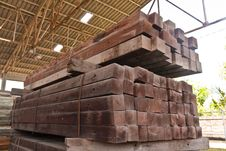 Wood Girder Stacked In Group Royalty Free Stock Photos