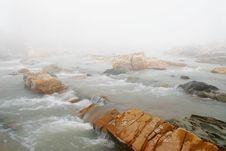 Fog In Winter Over The Stream Stock Photos
