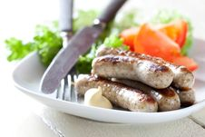 Fresh Grilled Sausages Royalty Free Stock Photography