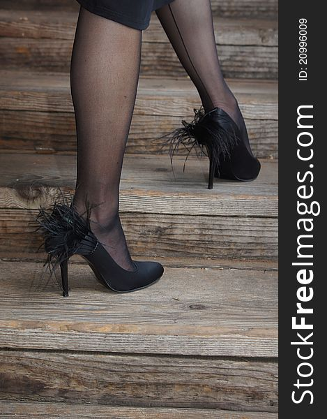 65b76ab1bc9 Legs With Black Stockings And Feather Shoes - Free Stock Images ...