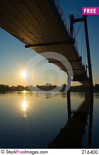 Free Suspension Bridge In Sunrise Stock Photo - 216400