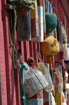 Free Bouys In Rockport, Massachusetts Stock Photography - 211522
