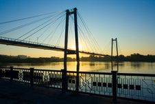 Suspension Bridge In Sunrise Royalty Free Stock Photos