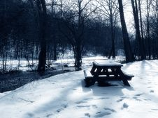 Free Picnic Table In The Snow, Blue Toned Stock Photography - 217882