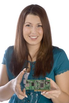 Free Woman Holding PCI Card Stock Photos - 2100373