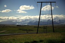 Free Power Lines And Glacier Royalty Free Stock Image - 2101476