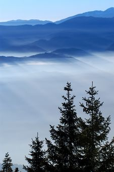 Free Foggy View From Mountains Royalty Free Stock Photo - 2102255