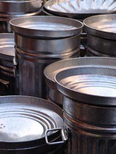 Free Silver Galvanized Dustbins Stock Photo - 2102630
