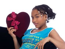 Free Young Girl Holding A Heart Stock Images - 2104794