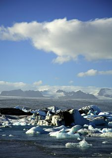 Icebergs With The Glacier In The Distance Stock Photo