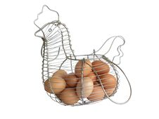 Eggs In The Basket(isolated) Stock Photography