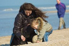 Free Mother And Cute Boy On The Beach Royalty Free Stock Image - 2107906