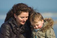 Free Mother And Cute Boy On The Beach Stock Photos - 2107913