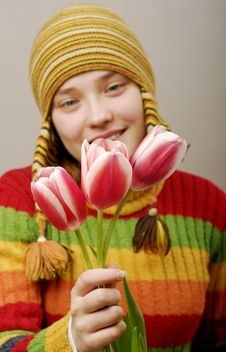 Free Girl With Three Tulips. Royalty Free Stock Photo - 2107915