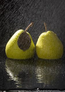 Free Pears In Rain Stock Image - 2108451