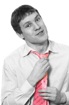 Free Monochrome Picture Of A Young Business Man With A Rose Tie Royalty Free Stock Image - 2108876