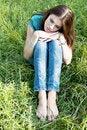 Free A Beautiful Girl Sitting On Grass Stock Photos - 21001313