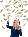 Free Christmas Girl With Dollars Stock Images - 21009104