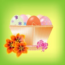 Free Basket With Easter Eggs On A Green Background Royalty Free Stock Images - 21001209