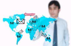 Free Businessman Draw On Worldmap Stock Image - 21002001