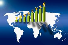 Free Currency On Business Graph And Social Network Royalty Free Stock Photos - 21002268