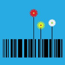 Free Barcode With Flowers Royalty Free Stock Photos - 21002798
