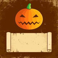 Free Pumpkin Halloween And Paper Scroll Stock Photo - 21003020
