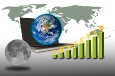 Free Earth Over Laptop With Currency Graph And Moon Stock Image - 21003341
