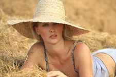 Free Woman Relaxing In Hay Stack Stock Photo - 21003490