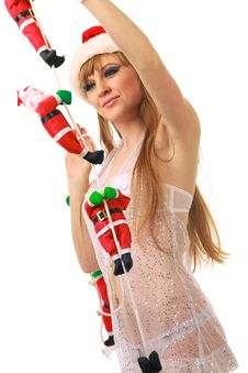 Free Santa Clauses Clamber Up Sexy Santa Girl Stock Photos - 21003493