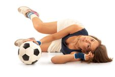 Free Sexy Girl With Soccer Ball Royalty Free Stock Photos - 21003498