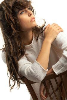Free Slumberous Girl In White Wool Royalty Free Stock Image - 21003506