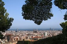 Free Barcelona Skyline Panorama Royalty Free Stock Photography - 21004377