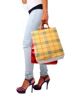 Free Woman With Shopping Bags Stock Photography - 21005072