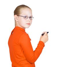 Schoolgirl With Marker In Hand Royalty Free Stock Photos