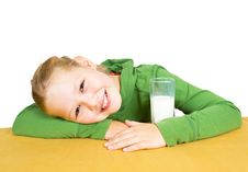 Free Happy Little Girl With A Glass Of Milk, Isolated Stock Photo - 21005420