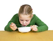 Free Girl Eats Isolated Royalty Free Stock Images - 21005459