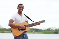 Free Handsome Man With A Guitar Royalty Free Stock Photo - 21005515