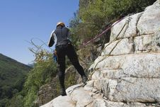 Canyoning Men Fix Your Safety Royalty Free Stock Photo