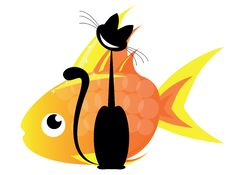 Free Cat And Gold Fish Royalty Free Stock Photography - 21007567