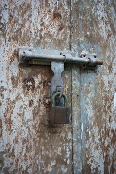 Free Old Metal Door With Lock Stock Image - 21007851