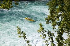 Free Boat Approaching The Rhine Falls Royalty Free Stock Photos - 21008698