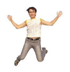 Free Happy Young Man Jumping In Air Isolated Royalty Free Stock Images - 21009069